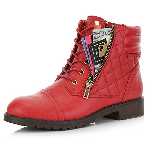 DailyShoes Women's Military Lace Up Buckle Combat Boots Ankle High Exclusive Credit Card Pocket, Red Pu, 8.5