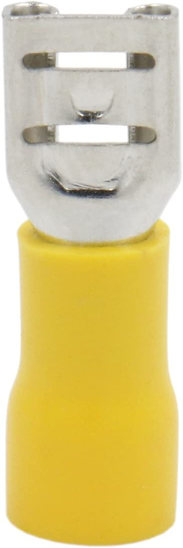 Heschen Male//Female Quick Disconnects Vinyl Fully Insulated 6.3 x 0.8 mm Cable Terminal for 4-6mm/² Yellow 100Pack 12-10 AWG