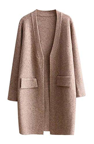 Pour Pull Cardigan Manteaux Femme Tricoté khaki 0526 Anatoky vwI7q5nt