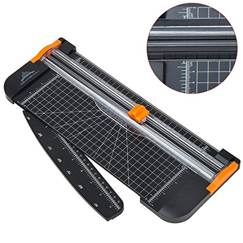 JIELISI Paper Trimmer A4 Titanium Paper Guillotines Scrapbooking with Finger Protection and Slide Ruler Design, Black ()