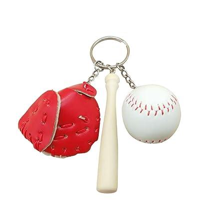 Amazon.com : TOYMYTOY Baseball Glove Wooden Bat Keychains ...