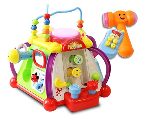 ToyThrill 15 Game Baby Activity Cube Play Center - Happy Small World Fun Child Development Toy with Sounds, Lights, Music and More