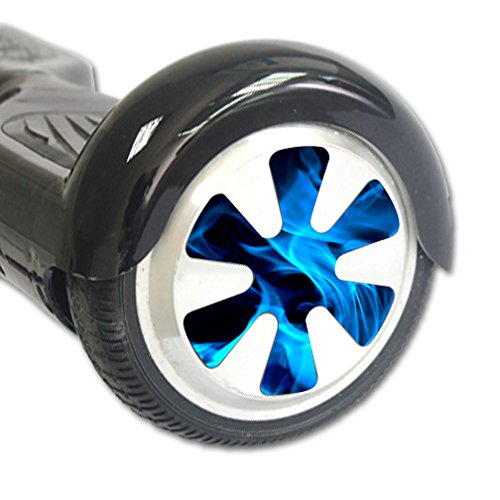 MightySkins Protective Vinyl Skin Decal for Hover Balance Board Scooter Wheels mini board unicycle bluetooth wrap cover sticker Blue Flames