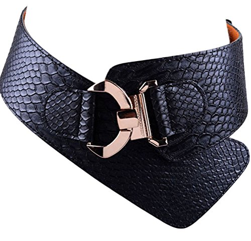 TY belt Women Girls 3 Size Leather Belt Fashion Textured Solid Color PU Leather Wide Waist Band Elastic Stretch Belts (L, (Classic Solid Wide Band)