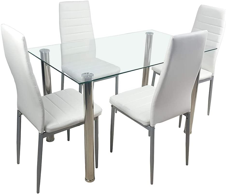 Simply-Me 5 Pieces Dining Table Set Modern Tempered Glass Dining Room Table Kitchen Table Furniture,Dining Table and 4 PU Leather Chairs,White