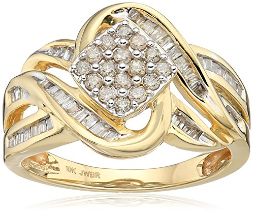10k Yellow Gold Diamond Square cluster Ring (1/2 cttw), Size 9 Cut Diamond Cluster Ring