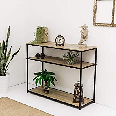 C-Hopetree Console Entry Table for Entryway Hallway Sofa - Storage Shelves - Black Metal - DURABLE SURFACE - Wood look laminate finish is easy to look after. COMPACT & VERSATILE - Stylish narrow lines make it the perfect space-saver in any room. STRONG AND STABLE - Black tubular steel frame. - living-room-furniture, living-room, console-tables - 51s%2BKa1bLVL. SS400  -