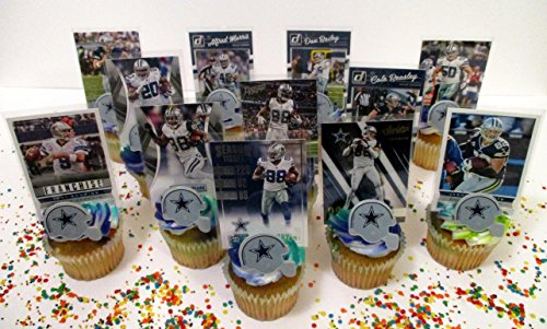 DALLAS COWBOYS 24 Piece Birthday Party Cupcake Topper Party Favor Set Featuring 12 Cowboys Helmet Rings and 12 Cowboys Player Football Cards -