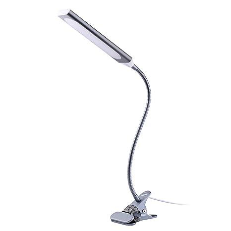 TOPESEL Lámpara de Lectura Luz de Escritorio, 5W LED Luz de Mesilla Luz de Mesa, Flexo Pinza Cuello Regulable Cuidado Ojos 3 Modos 11 Niveles de ...