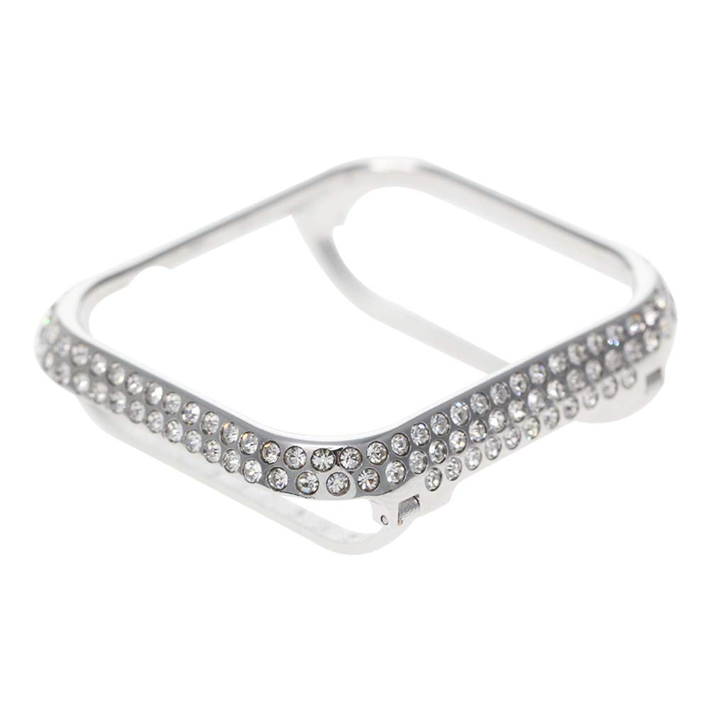 UKCOCO Compatible Apple Watch Diamond Case, Bling Rhinestone iWatch Bezel Metal Cover Protective Bumper Compatible Apple Watch Series 1/2/3 for Men Women (42mm Silver)