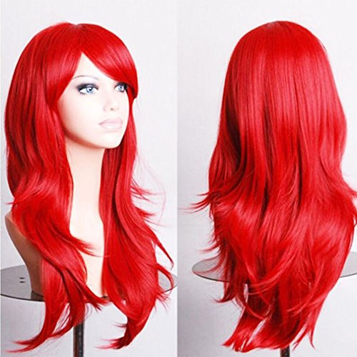[Anime Cosplay Synthetic Wig 10 Colors Japanese Kanekalon Heat Resistant Fiber Full Wig with Bangs Long Layered Curly Wavy 23'' / 58cm+Stretchable Elastic Wig Net for Women Girls Lady] (Invisible Man Costume Diy)