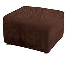 Sure Fit Stretch Pique 1-Piece - Ottoman Slipcover  - Chocolate (SF35097)