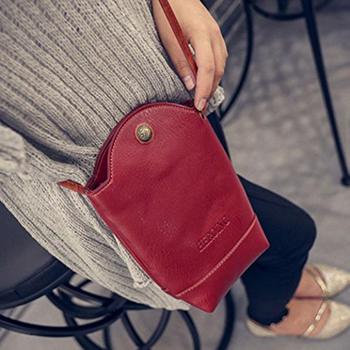 for Shoulder Slim Bags Women Red Cover PU Bags Body CieKen Small Satchel Vintage Leather Crossbody 4nqxwPvt18