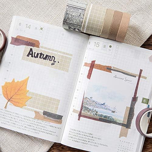 Enyan Set di 10 rotoli di nastro washi vintage giapponese nastro decorativo per fai da te e progetti artistici fai da te e diari di scrapbooking Autumnal