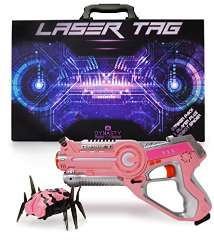 Dynasty Toys PINK Laser Tag Blaster and Flipping Robot Bug / Spider Target. Perfect Gift for Girls and Boys of All Ages All Robots