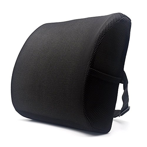Valuetom Premium Lumbar Support Pillow - Memory Foam Lower Back Support Cushion for your Home, Office Chair, and Car - NEW Ergonomic Memory Foam Design with Cool Mesh Fabric (Black) by Valuetom