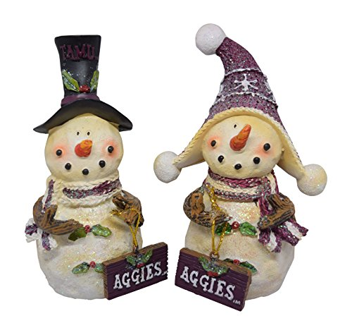 Set of 2 Licensed Texas A&M Aggies Snowman Standing Decorations]()