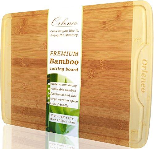 Orleneo Organic Bamboo Cutting Board - Extra Large: 17.3