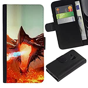 Ihec-Tech / Flip PU Cuero Cover Case para Samsung Galaxy S3 MINI NOT REGULAR! I8190 I8190N - Fierce Smaug Fire Dragon