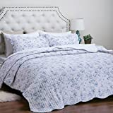 """Printed Quilt Coverlet Set King Blue Floral Pattern Lightweight Hypoallergenic Microfiber """"English Garden"""" by Bedsure"""