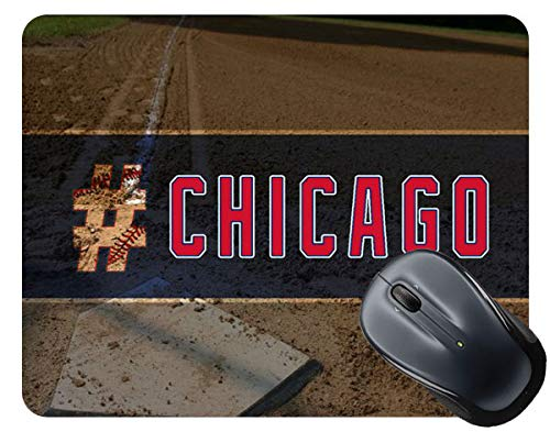 - BRGiftShop Hashtag Chicago #Chicago Blue and Red Baseball Team Square Mouse Pad