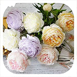 Memoirs- Simulation Silk 3 Head Rose Bouquet Home Living Room Hotel Table Decoration Artificial Flowers Wedding Bride Holding Flowers 1Pc 50