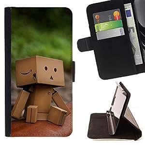 For HTC One M9 - Cute Boxman /Funda de piel cubierta de la carpeta Foilo con cierre magn???¡¯????tico/ - Super Marley Shop -
