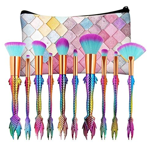 Mermaid Tail Makeup Brushes Set with Bag, YJM 10PCS New Arrival Foundation Eyeshadow Contour Eye Lip Makeup Brushes Set-Green Pink Gradient (Mermaid Makeup Tutorial)