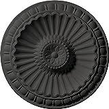 Ekena Millwork CM11LISGS 11 1/4'' OD x 1 1/8'' P Linus Hand-Painted Ceiling Medallion, Steel Gray