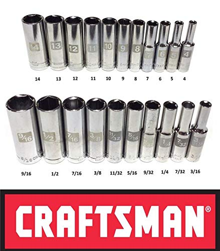 "Craftsman Laser Etched Easy Read 21 Piece SAE/Metric 1/4"" Drive 6 Point Deep Well Socket Set"