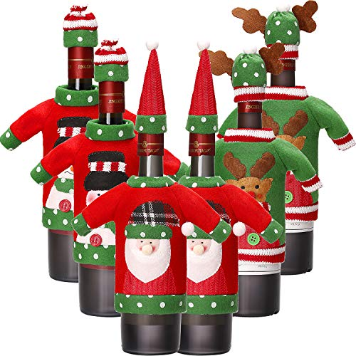 Boao 6 Sets Christmas Wine Bottle Cover Knit Sweater Wine Bottle Dress Santa Reindeer Snowman Wine Bottle Cover for Christmas Decorations Christmas Sweater Party Decorations (Style 1)