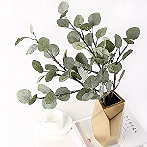 Artificial Greenery Stems 6 Pcs Straight Silver Dollar Eucalyptus Leaf Silk Greenery Bushes Plastic Plants Floral Greenery Stems for Home Party Wedding Decoration 5