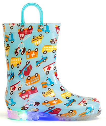 MOFEVER Toddler Rain Boots Boys Kids Light Up Printed Waterproof Shoes Lightweight Cute Colorful Cars with Easy-On Handles and Insole (Size 8,Blue)