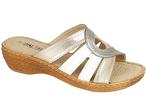 Foster Footwear - talón abierto mujer blanco / plateado