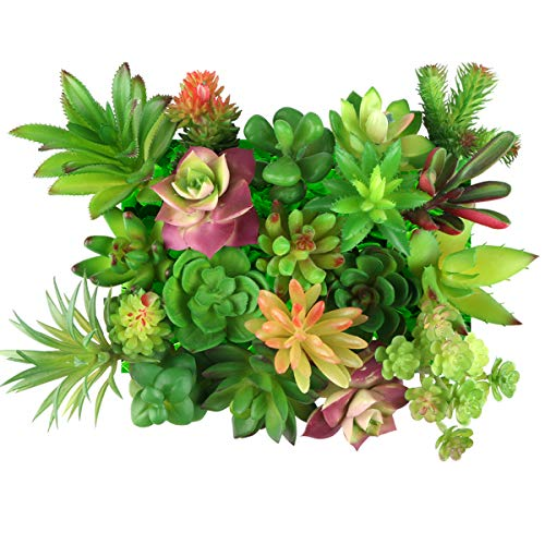 Yoodelife 20 Pcs Mini Artificial Faux Succulents Plants Fake Greenery, Realistic Looking