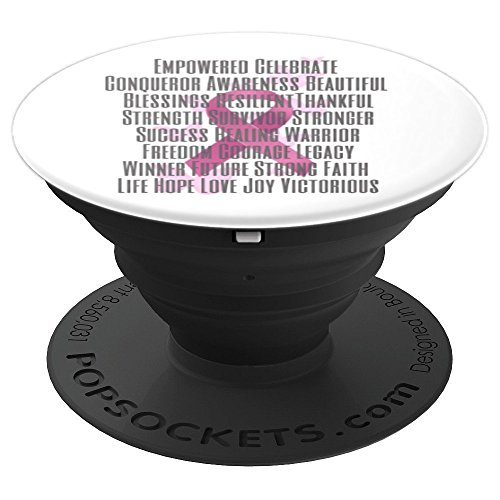 Empowered and Strong Pink Breast Cancer Ribbon - PopSockets Grip and Stand for Phones and Tablets by Designs by Alondra