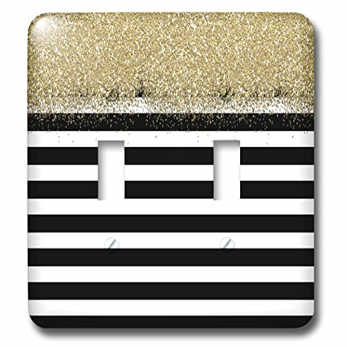 Black Stripe White Plate (3dRose (2) Double Toggle Switch (lsp_263547_2) Black and White Stripes Gold Digital Faux Glitter)