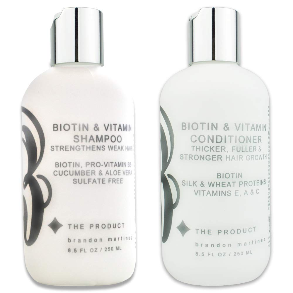 Biotin Vitamin Hair Growth Shampoo & Conditioner SET-(High Potency) Biotin Shampoo + Conditioner Set For Fastest Hair Growth, Vitamins E, A, And C B THE PRODUCT (8.5oz) by B THE PRODUCT