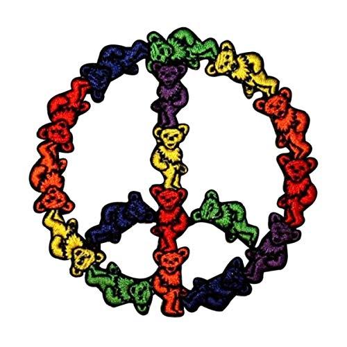 - Grateful Dead Dancing Bears Peace Sign Hippie Rock Icon Iron On Applique Patch