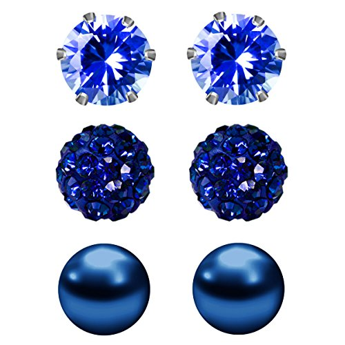 JewelrieShop Cubic Zirconia Rhinestones Crystal Ball Faux Pearl Birthstone Stud Earrings for Women Girls - Hypoallergenic Stainless Steel Earrings - 3 Pairs - Deep Blue - Cubic Faux Zirconia Pearl