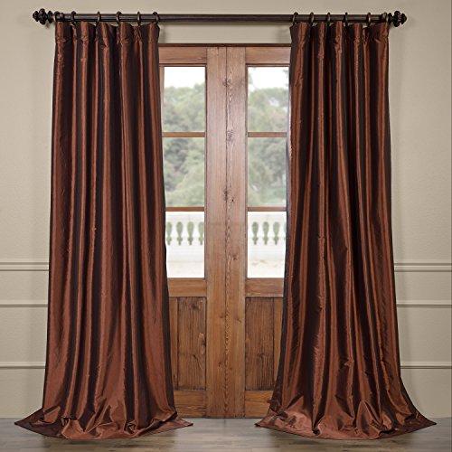 CH-BO209-108 Copper Blackout Faux Silk Taffeta Curtain, 50
