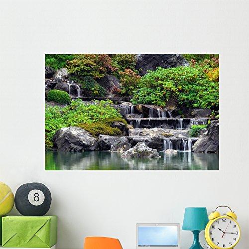 Wallmonkeys Japanese Garden Summer Waterfall Wall Mural Peel and Stick Graphic (48 in W x 32 in H) WM117419 ()