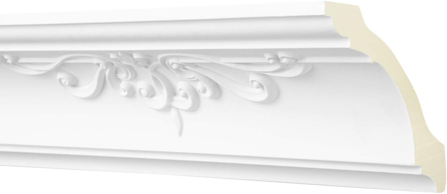 wei/ß AA326 Hexim Perfect sto/ßfest Eckleiste Dekorleiste Stuckprofil Zierleiste 2 Meter Zierprofil 90x90mm Stuckleiste aus PU gemustert