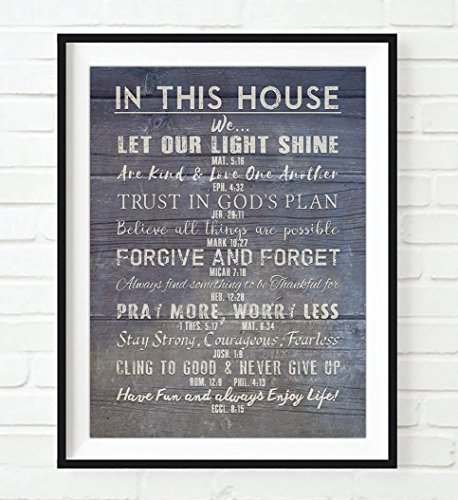 Christian Bible Verses- Family Rules-In This House ART PRINT, Scripture inspirational wall home decor poster UNFRAMED, Housewarming gift, 5x7 inches