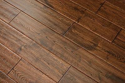 "Elk Mountain Oak Gunstock Dark 5/8""x 5"" Hand Scraped Engineered Hardwood Flooring FH268 SAMPLE"