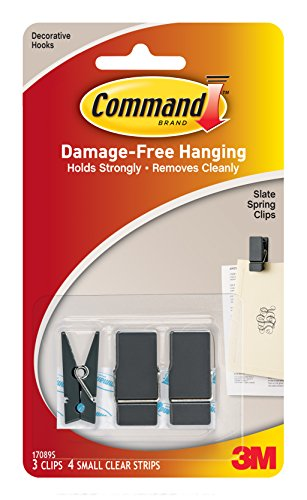 Command Spring Clips, Slate, 3-Clips (17089S-ES)