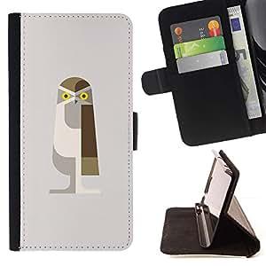 Momo Phone Case / Flip Funda de Cuero Case Cover - Arte del búho de Brown Polígono Beige Aves - Samsung Galaxy Note 5 5th N9200