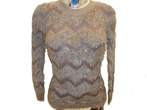 Patrón señoras de las mujeres Zig-Zag cuello redondo mullido Furia de invierno Primeros Jumper mangas largas Beige