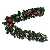 59'' Christmas Artificial Fir Tree Garland with Straw Bows, Apples, Berries & Pine Cones