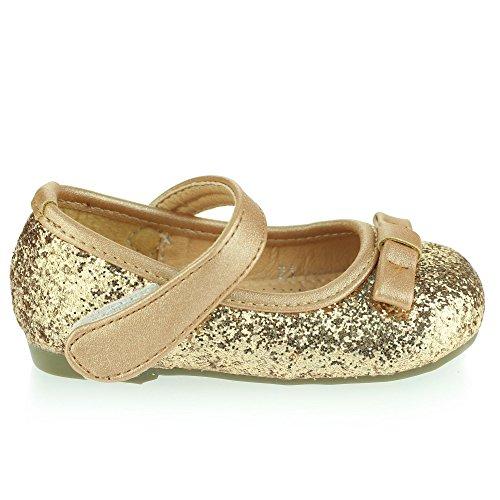 Mädchen Kinder Glänzend Obere Blume Detail Klettverschluss Ballett Pumps Sandalen Schuh Größe Gold